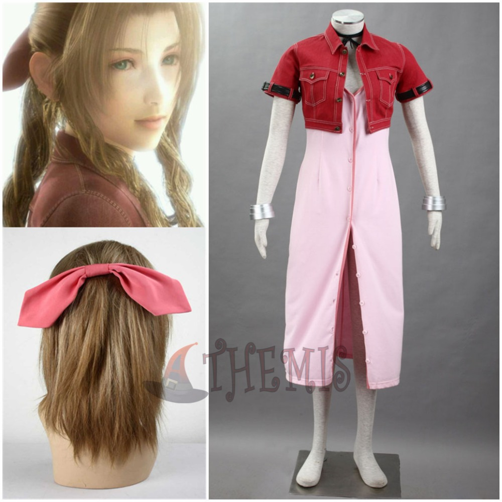 Athemis Anime Final Fantasy VII Aerith Cosplay Costume Red Suit Aksesori rambut Gelang custom made size