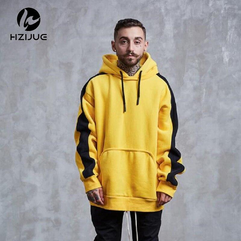 HZIJUE 2017 New brand Hoodie Streetwear Hip Hop yellow green Black gray Hooded Hoody Mens Hoodies and Sweatshirts Size M-XXL