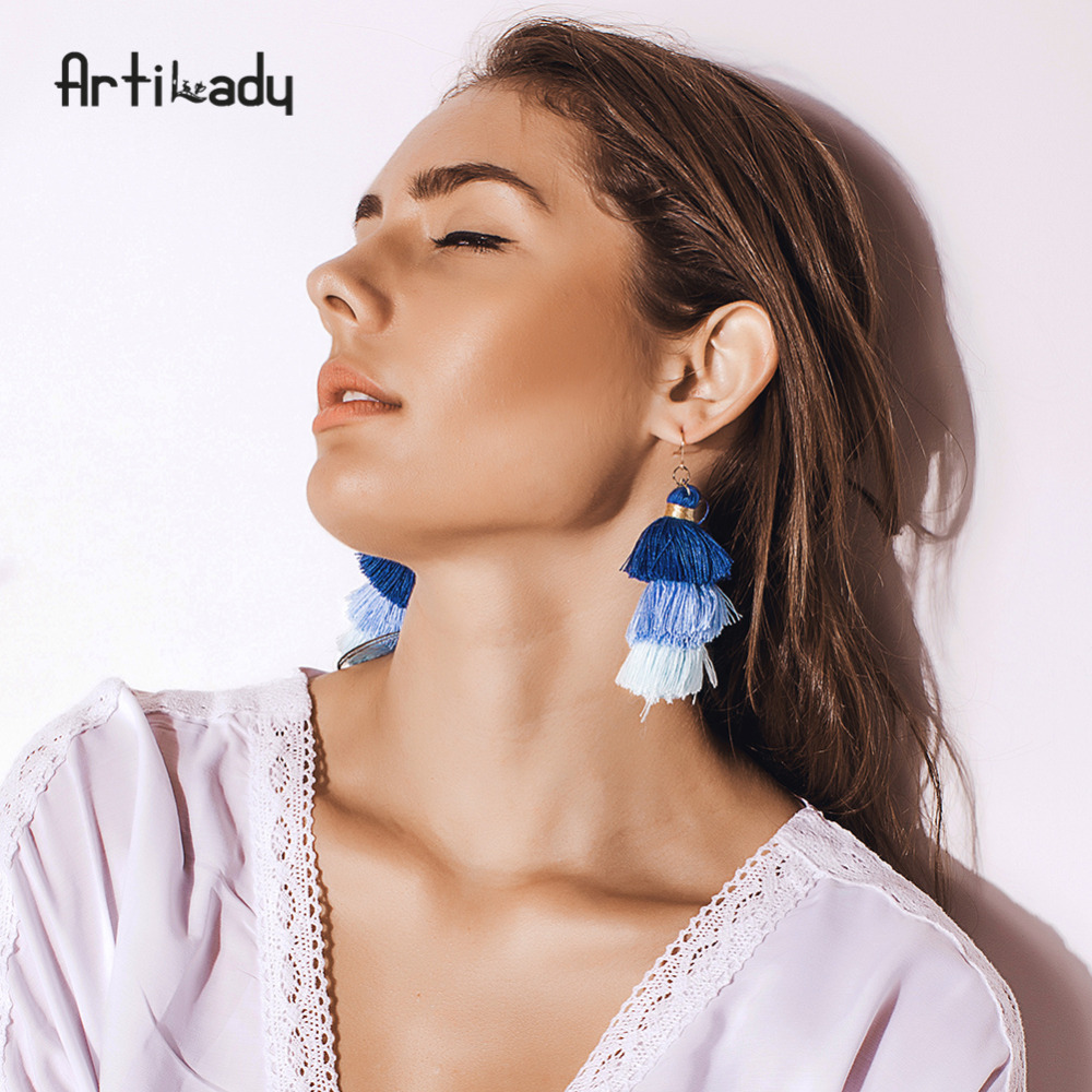 Artilady Handmade Three Layers Tassel Earrings Colorful Bohemian Style Dangle Earring Jewelry Gift For Women dropshipping