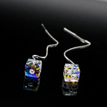 Las mujeres de Corea Del sur nuevo alto grado de crystal 925 sterling silver line oído orejas largas Rhinestone pendientes de la joyería del encanto femenino