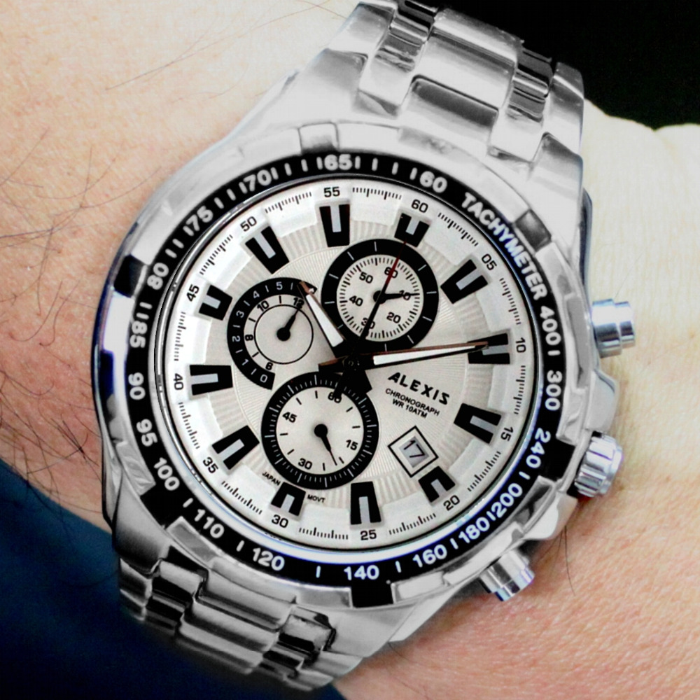 Alexis Men Analog Quartz Round Wrist Watch Miyota 0S10 Chronograph Shiny Silver Stainless Steel Band White Dial Water Resistant стоимость