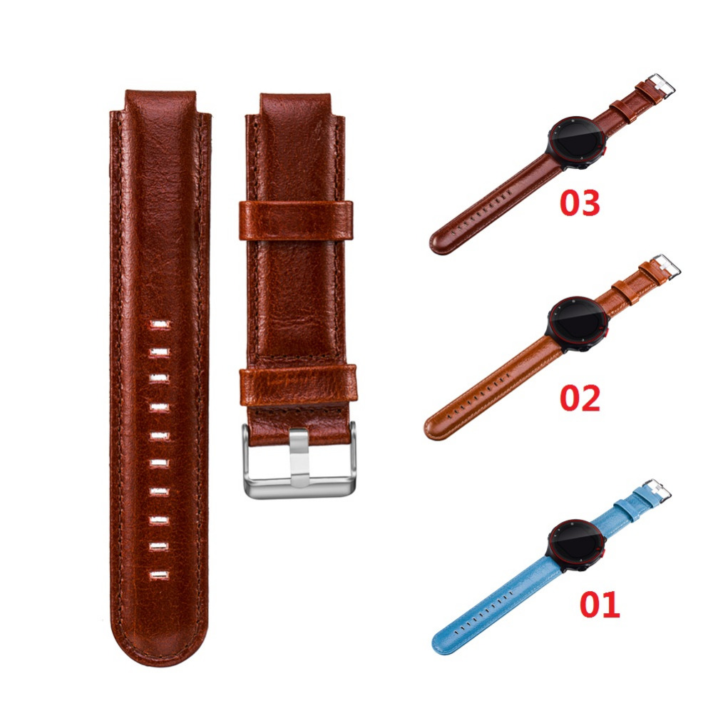 Genuine Leather Brown Double-edged Wristband with Knife Tool for Garmin Forerunner  220 230 235 630 620 735 90x 82x 12mm double edged sword ceramic rings for tampon printer