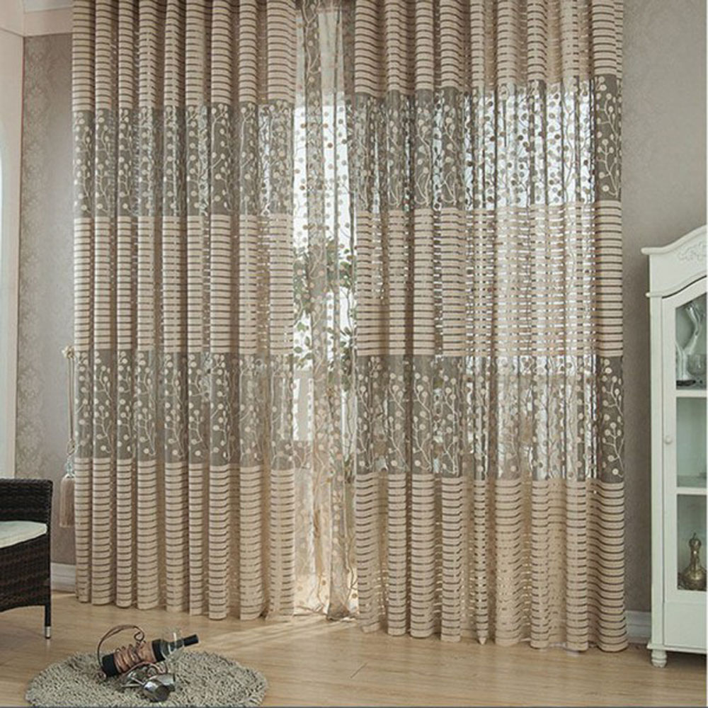 2pcs jacquard flower pattern net curtains for window for Living room net curtains
