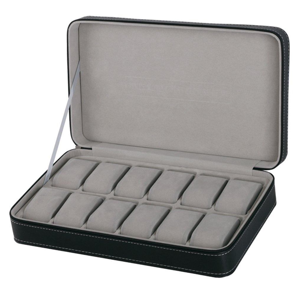 Protable 12 Slots Watch Box Storage Case With Zipper Multi-functional Bracelet Watches Display Casket Watches Holder Casket Gray dark gray off shoulder jumpsuit with multi functional neck