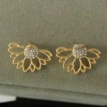 Shiny Bling Crystal Pistil Half Hollow Flower Silver Golden Stud Earrings for Women