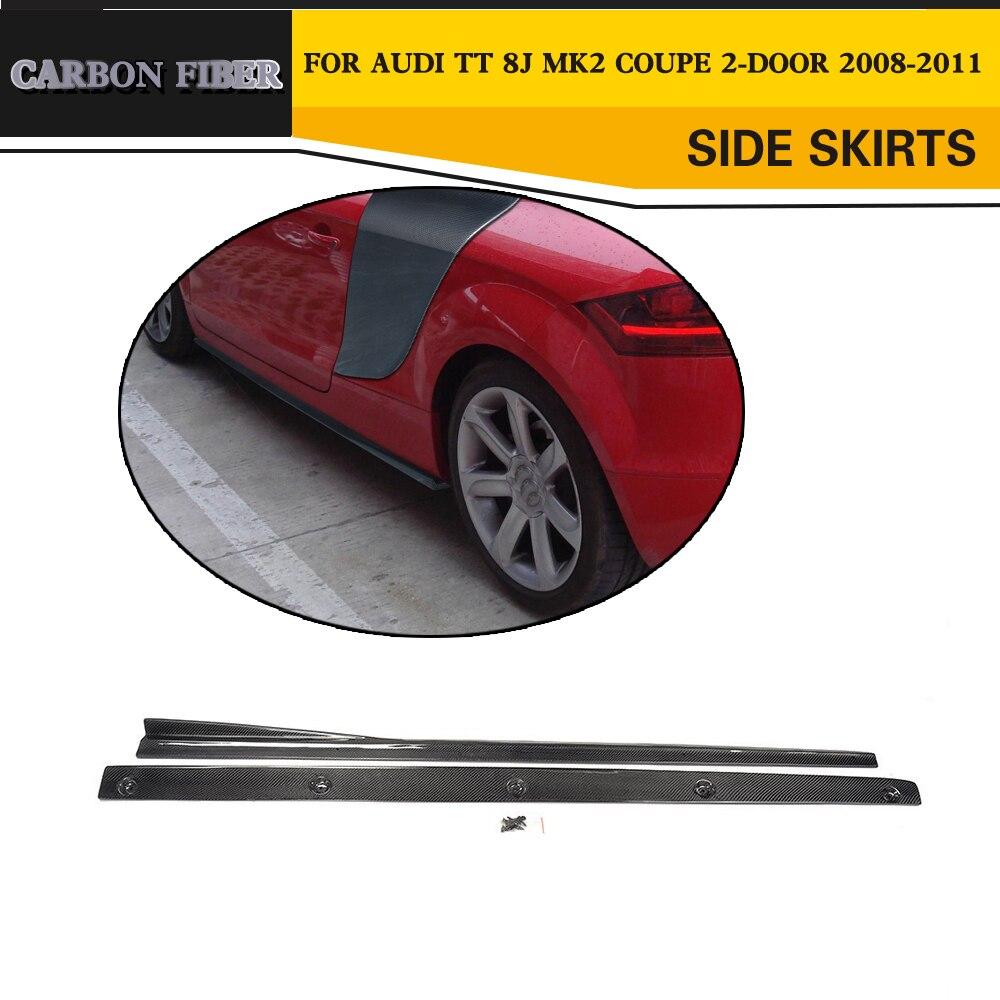 Углеродного волокна Гонки сбоку тела юбки губ Автомобиль Стайлинг для Audi TT 8J Кабриолет купе 2 двери 2008 2011