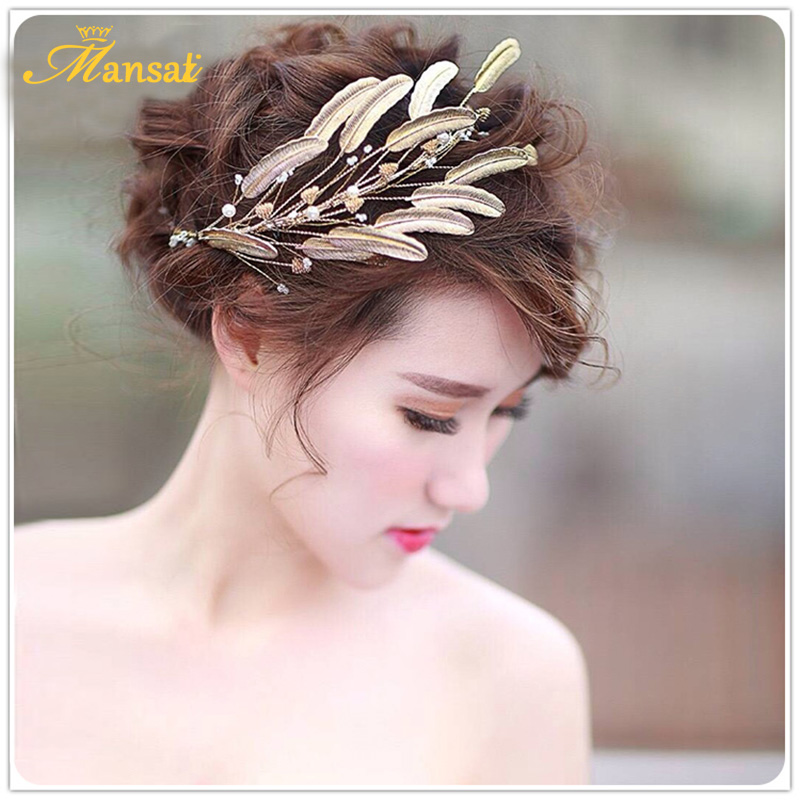 c3caa04e50e Sweet Girl Pink Ribbon Bow Hair Jewelry Set Hairband +Hair Clips Simulated  Pearl with Gold leaves Headband Hair pins SG070USD 16.46 piece