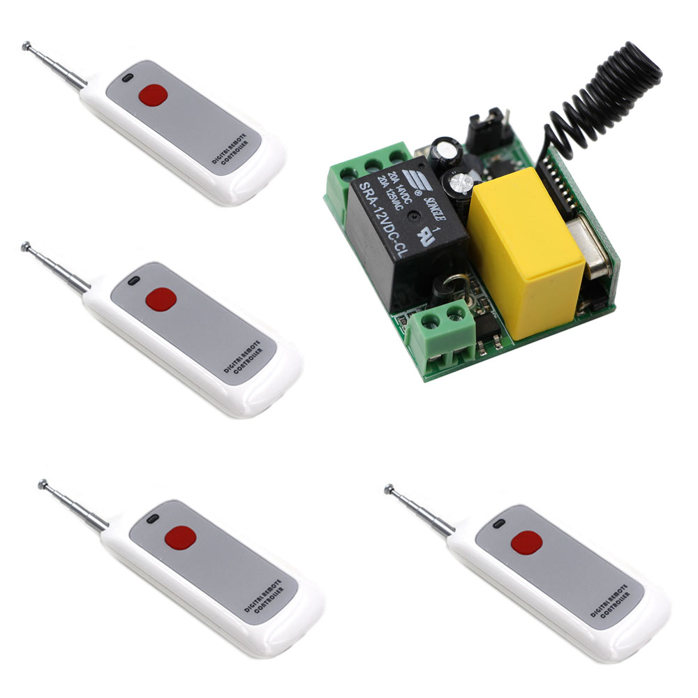 AC 220V Remote Control Light Switch 10A 1 CH Relay Wireless Receiver One Red Button Transmitter LED Light Lamp Bulb Switch 220v ac 10a relay receiver transmitter light lamp led remote control switch power wireless on off key switch lock unlock 315433