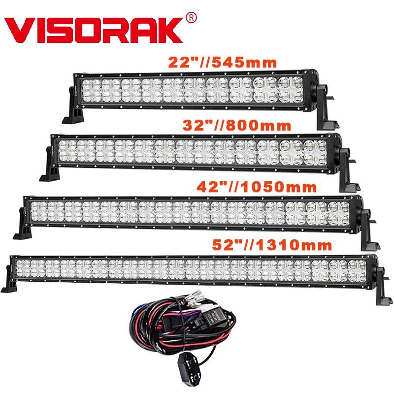 VISORAK 7D 22 33 42 52 Droite Offroad LED Light Bar CREE Puces Spot D'inondation 12 v 24 v LED Travail Light Bar Pour 4x4 4WD ATV Bar