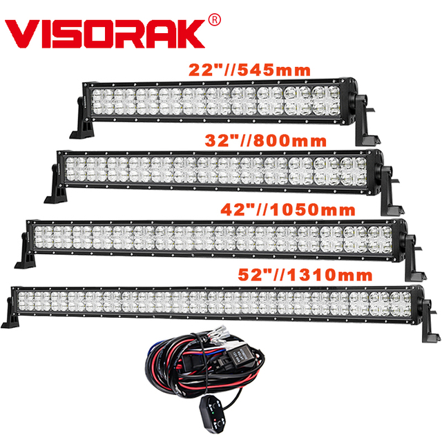 VISORAK 7D Amber DRL Straight Offroad LED Light Bar for Car Boat Off-road 4WD 4x4 Truck SUV ATV Vehicles LED Work Light Bar