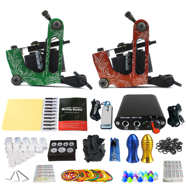 Solong Tattoo 2 Handmade Machine GunsTattoo Kits Power Supply Foot Pedal 20 Needles Grip Tip Ink Cup Taty Set TK201-15