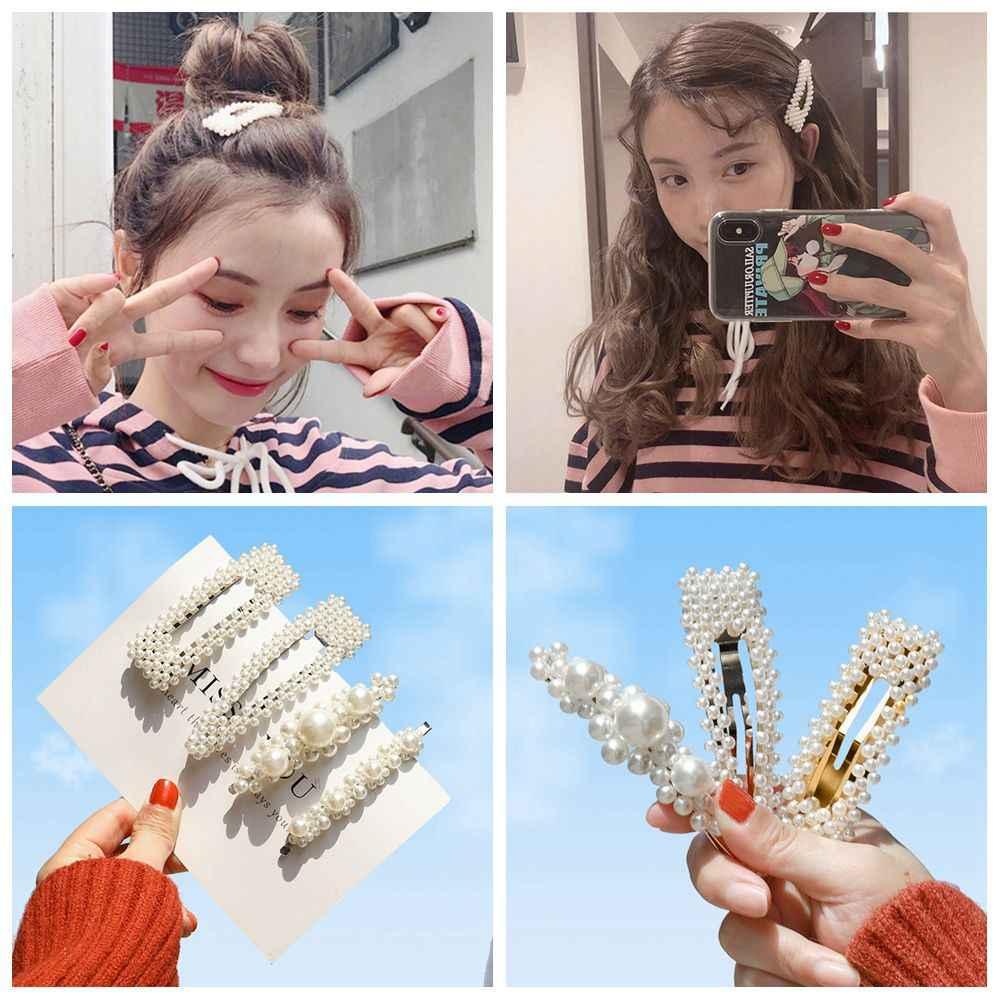 Fashion Metal Full Pearl Hair Clip For Women Elegant Bobby Hairpins Elastic Barrette Cute Girl Hairgrip Jewelry Hair Accessories