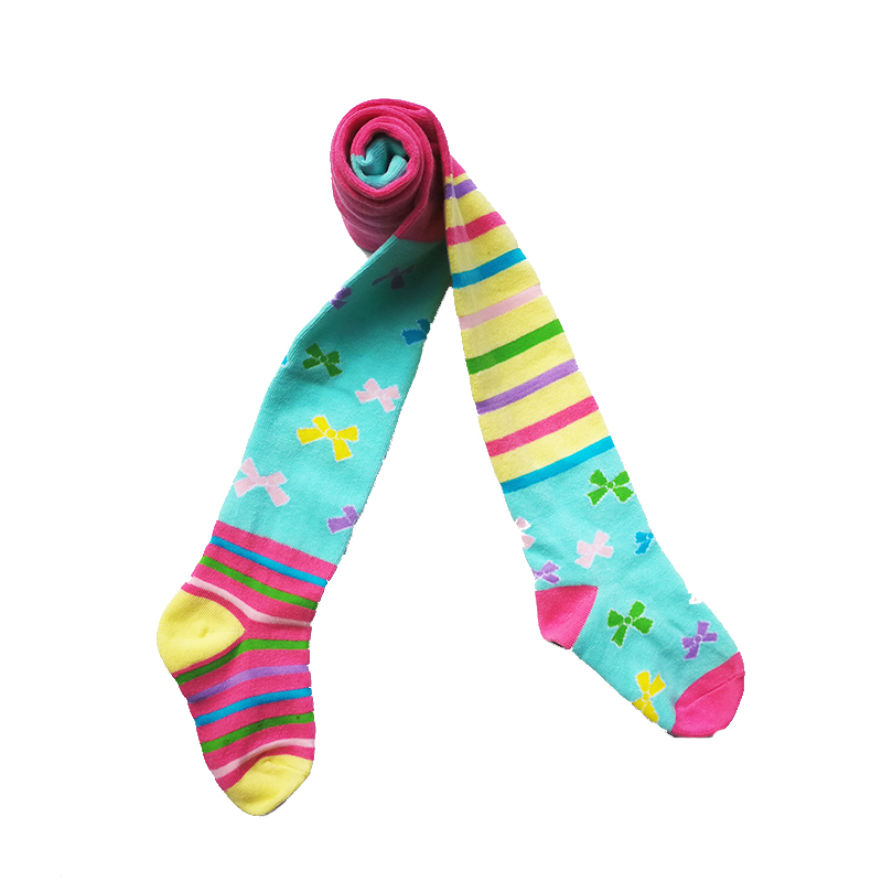 Cotton Baby Kids Girls Cartoon Bow Tights Baby Girl Striped Pantyhose Children Accessories Clothing