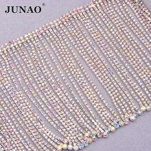 JUNAO 45cm szycia dekoracyjne kryształki górskie Fringe łańcuch szklane kamienie Tassel metalowe wykończenia kryształ aplikacja Strass taśmy do sukni DIY