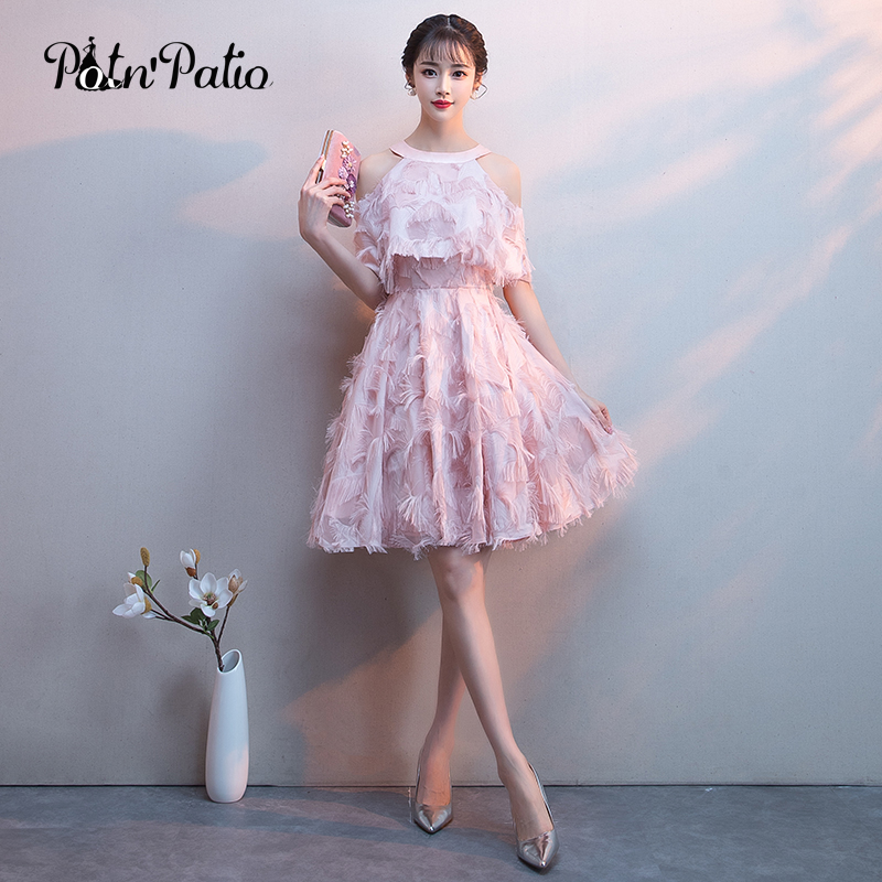 Sexy Feathers Short Evening Dress With Jacket Sweet Halte Off Shoulder A-Line Pink Formal Party Gown Special Occasion Dresses