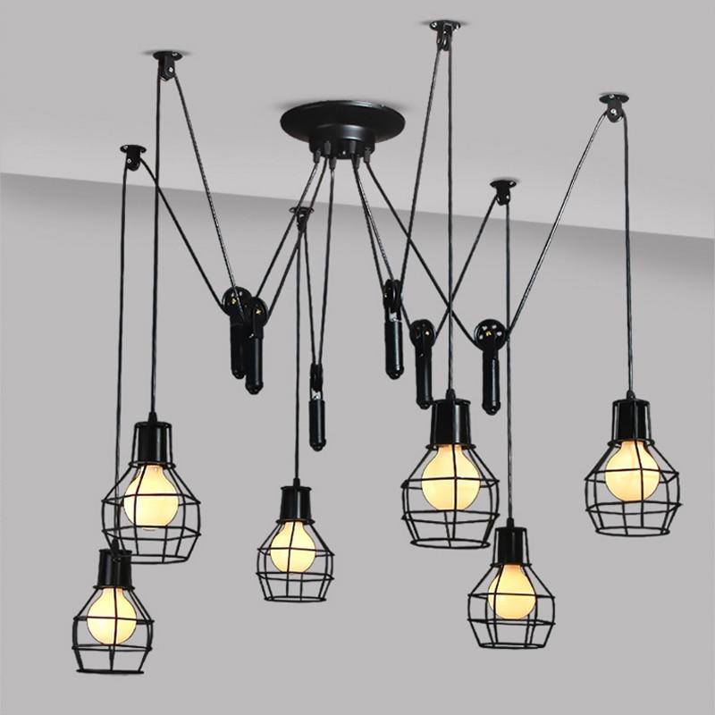 Black Painting Chandeliers creative personality Kitchen Island Lighting chandelier cafe restaurant Vintage Chandeliers Light