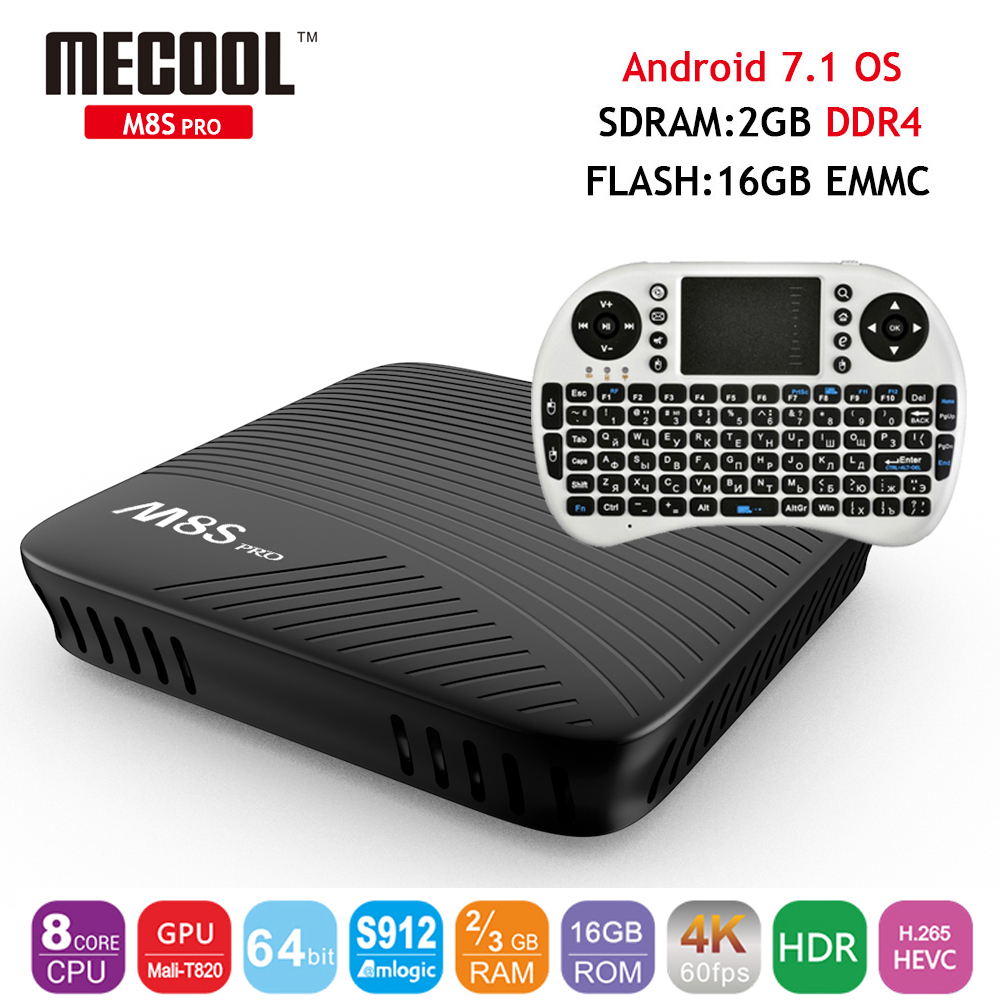 [Genuine] Mini M8S Pro 2GB DDR4 16GB EMMC Flash Android 7.1 OS Smart TV Box Amlogic S912 Octa Core Wifi 4K H.265 Set Top Box x96 mini smart tv box android 7 1 1gb 8gb 2gb 16gb amlogic s905w quad core h 265 4k 2 4ghz wifi x96mini pk mx9 pro set top box