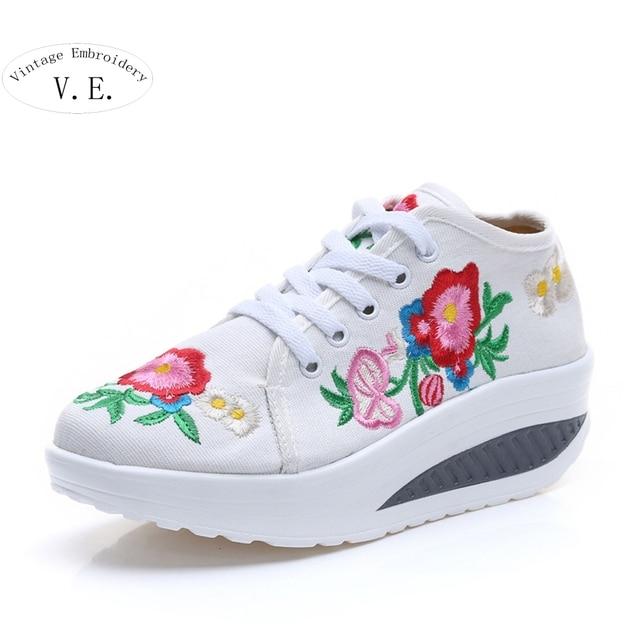 Новые Приходят Весна Осень Китайский Старый Пекин Вышивка обувь Туризм вышитые Цветочные одноместный прогулки танцевальная обувь