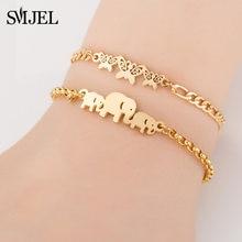 SMJEL-pulsera de acero inoxidable para mujer, brazaletes estandar hilo, accesorios de joyería