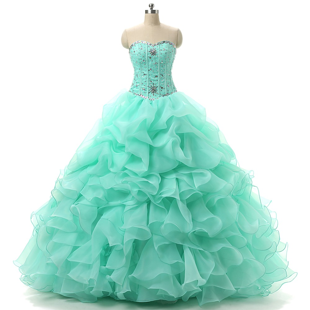 ruthshen Mint Green Quinceanera Dresses sweetheart beaded ruffles Sweet 16 Masquerade Ball Gowns Cheap Debutante Prom Dress