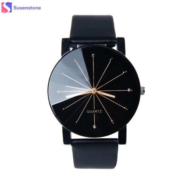 Men Women Watches Lovers'Luxury Brand Leather Analog Quartz Watch Glass Dial Clo