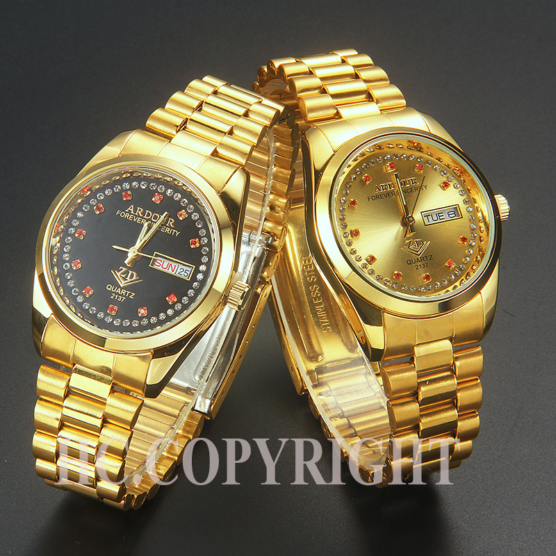 Luxury Dress Watch Men gold/Black Diamond Dial Staine