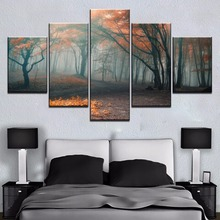 Modular 5 Panel Summer Fallen Leaves Tree Forest Cuadros Landscape Canvas Wall Art Home Decor For Living Room Painting