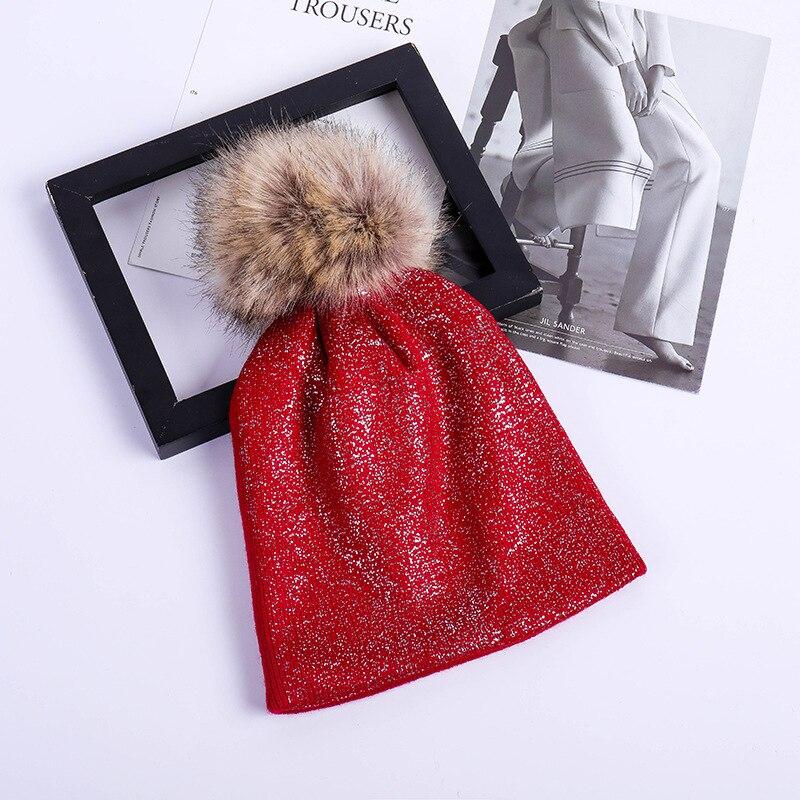 2018 Fashion Bronzing Black White Caps Faux Fur Pompon Ski Hat for Women Winter Knitting Warm Hats Female   Skullies     Beanies   Bones