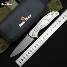 Bear claw NEW TOP F95 Flipper folding knife D2 steel Titanium S pattern handle camping hunting pocket kitchen knives EDC tools