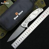 Gấu claw NEW TOP F95 Flipper gấp dao D2 thép titan S mô hình xử lý camping hunting pocket dao nhà bếp EDC công c