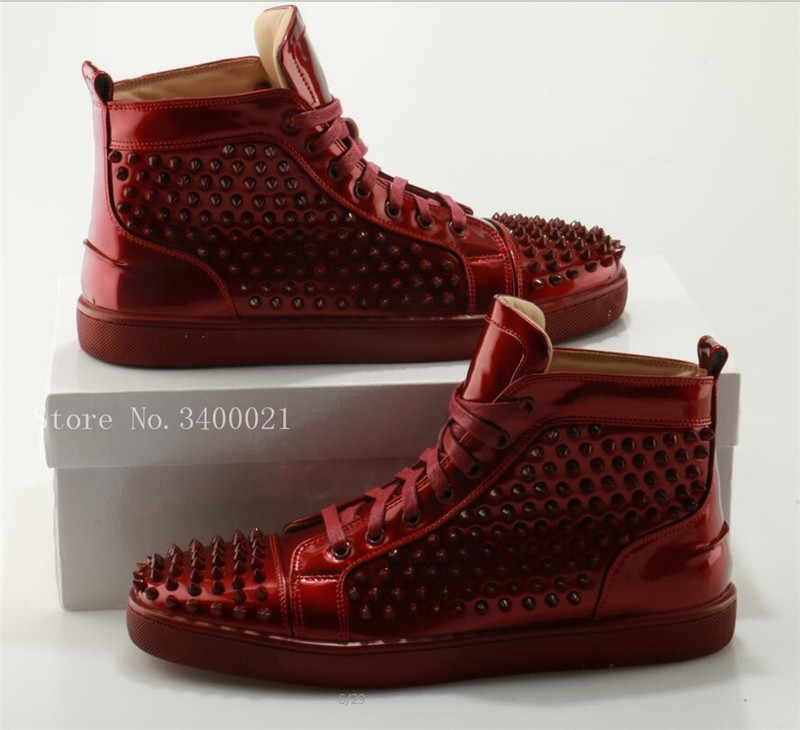9d2845755 ... Горячие Follwwith Элитный бренд красный заклепками Лакированная кожа на  шнуровке высокие кроссовки Кроссовки Zapatillas Для мужчин ...