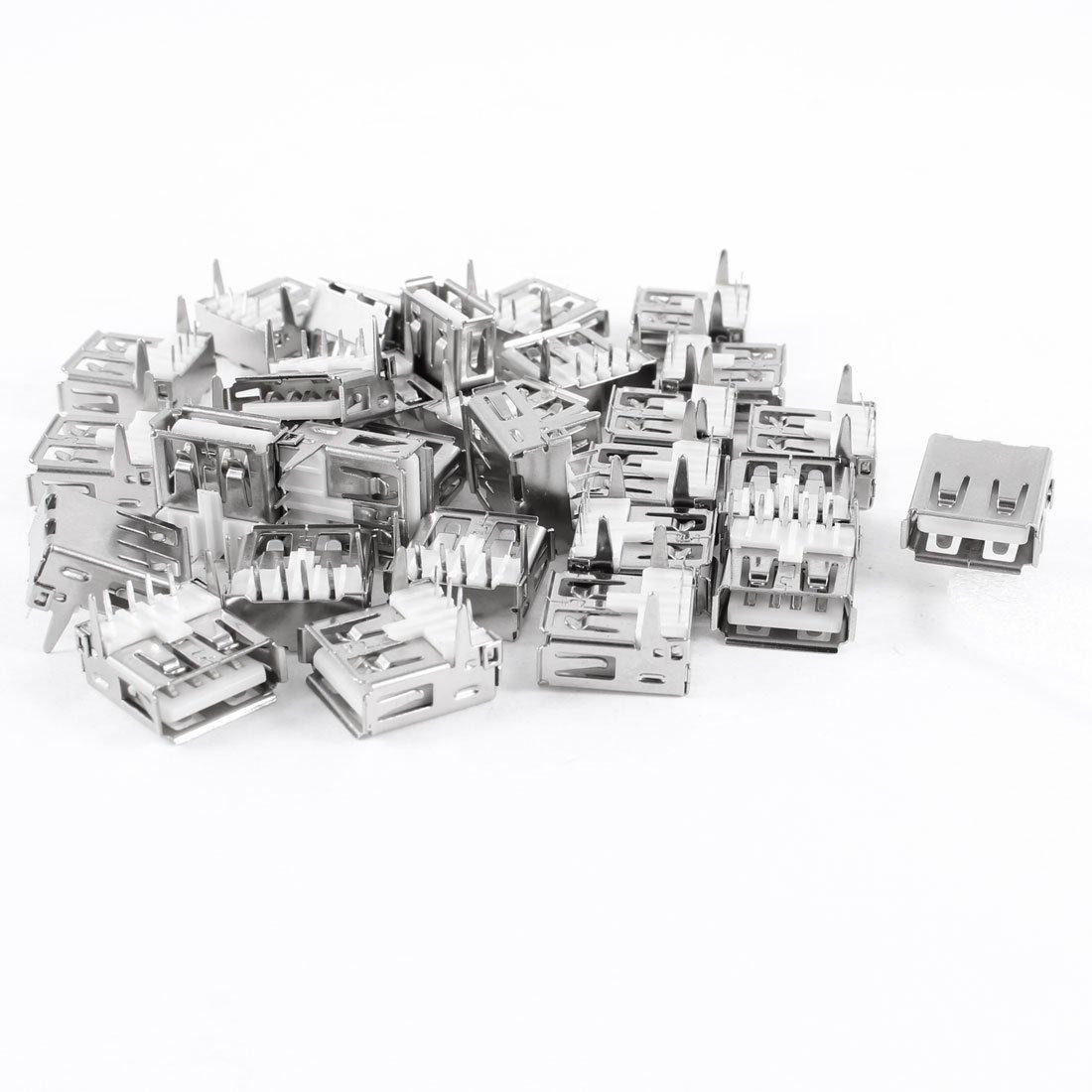 30 Pcs USB Female Type A Port 4-Pin DIP 90 Degree Jack Socket Connector