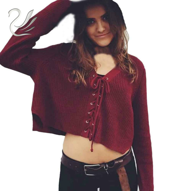 Winter Women Sweaters 2017 Casual Lace Up Bandage Long Sleeve Knit Sweater Short Tops V-Neck Loose Pullovers pull femme