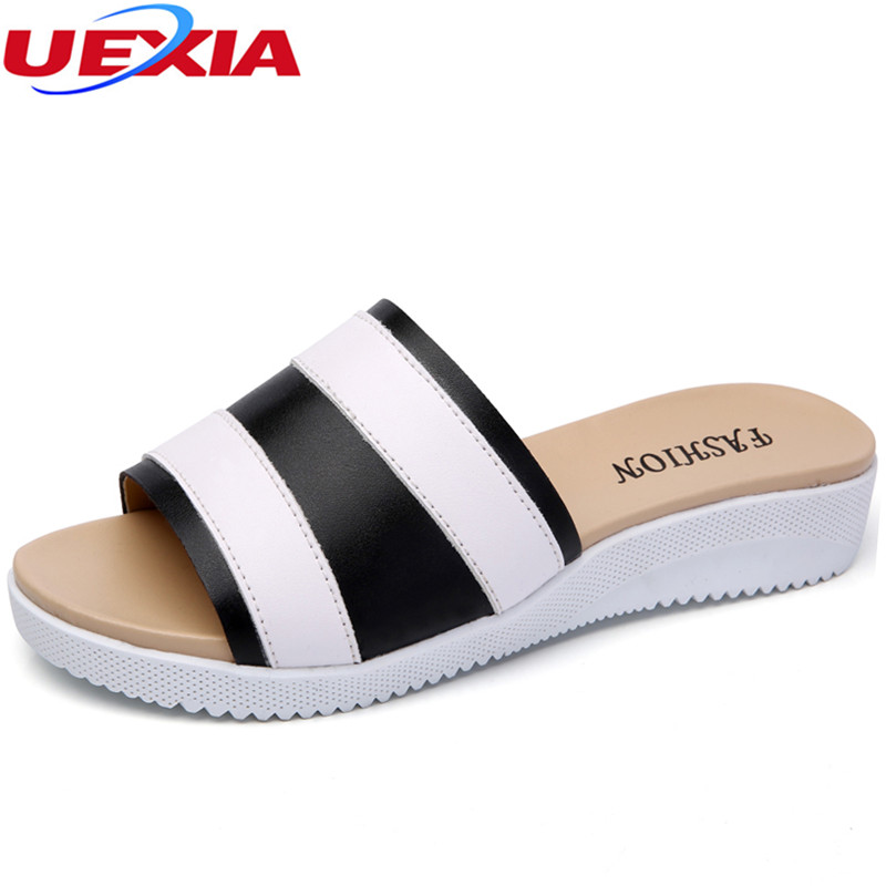 UEXIA 2018 New Summer Women Slippers Slides Women Flip Flops Word Leather Hollow Flats Single Sandals Non-slip Fashion Sandalias