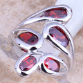 Clean Red Created Garnet Silver Stamped 925 Women's  Ring Size 6 / 7 / 8 / 9  R1251