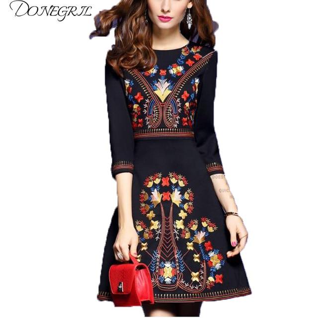 3996d7abb63 2018 embroidered dress woman black mexican dress boho chic dresses ladies  tunic boho style dresses