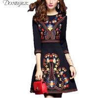 2018 embroidered dress woman black mexican dress boho chic dresses ladies tunic boho style dresses