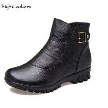 Big Size(35-43) New 2017 Women Genuine Leather Fashion Warm Short Plush Women's Snow Ankle Boots For Women Black Colors
