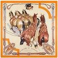 Новый Саржевого Шелковый Шарф Женщин 130*130 см Европа Ручная роспись чернила лошадь Квадратных Шарфы Высокое Качество Большой мода Подарок Шелковые Платки