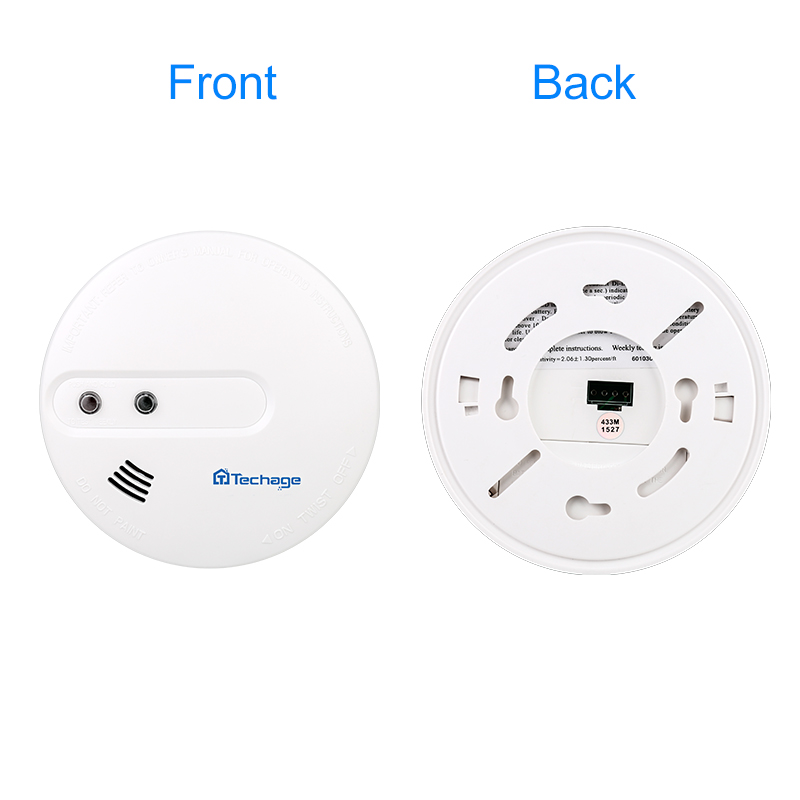 Techage 433MHz 150ft Indoor Wireless Fire Protection Smoke Detector Portable Alarm Sensors For S1 S6 Home Security Alarm SystemTechage 433MHz 150ft Indoor Wireless Fire Protection Smoke Detector Portable Alarm Sensors For S1 S6 Home Security Alarm System