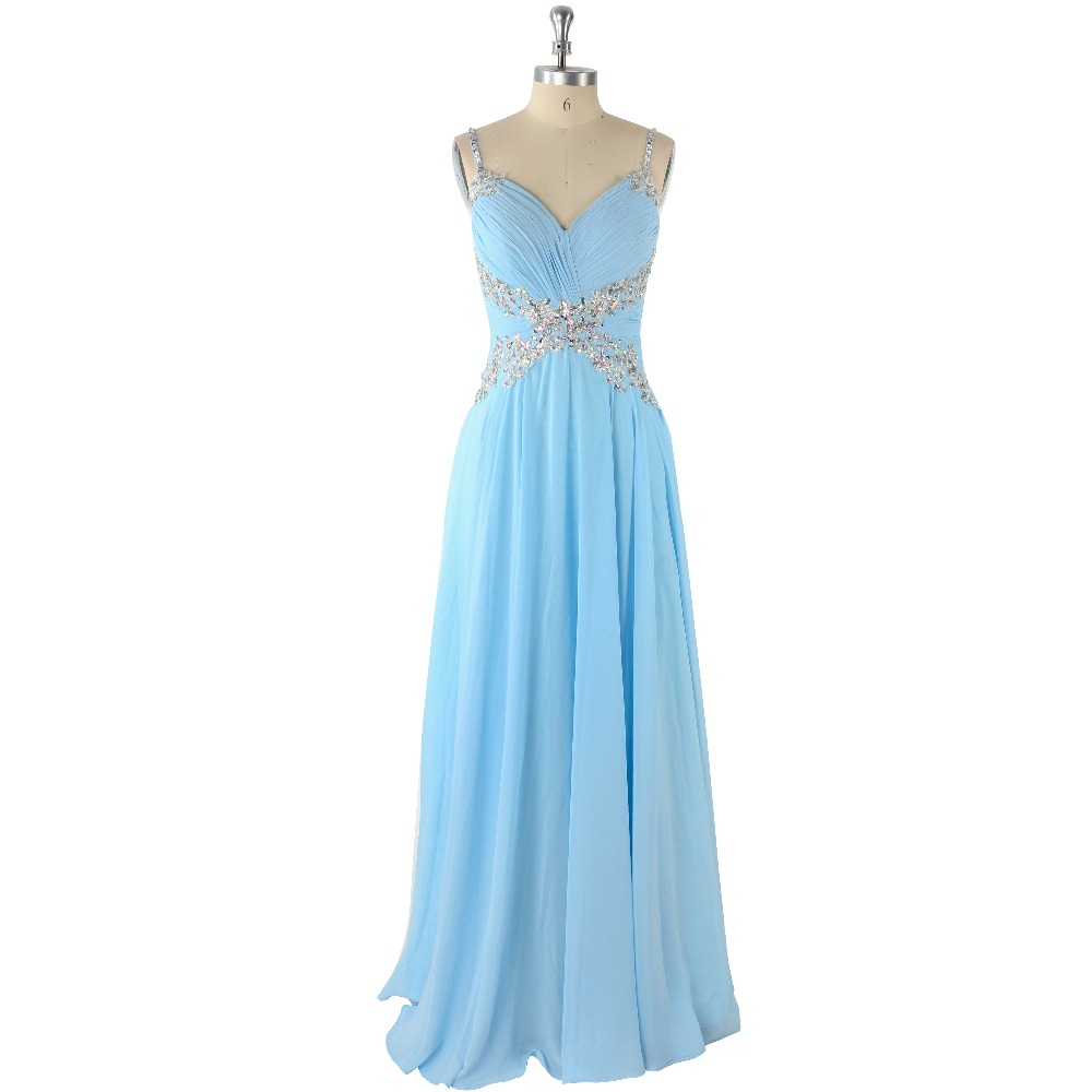 2017 Sexy Blue Natural Waist Beading Appliques Spaghetti Straps Sleeveless A-Line Floor-Length Chiffon   Prom     Dress