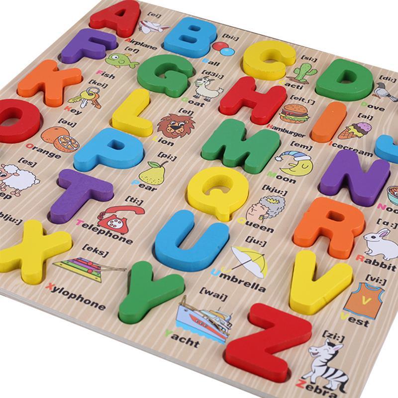 Деревянные буквы английского алфавита 3D, доска для обучения раннего детства обучающие игрушки строчные/прописные игрушка набор новый