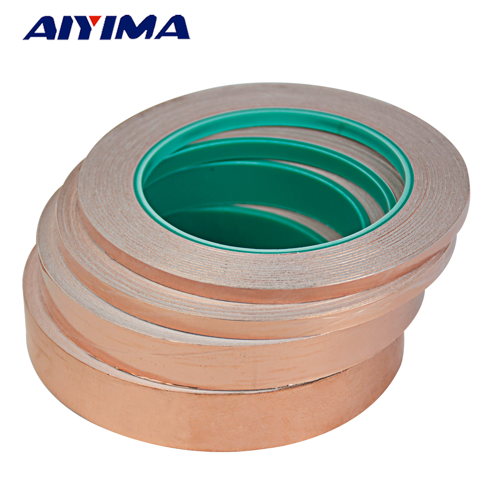 1Pc 25M Double-sided Conductive EMI Shielding Copper Foil Tape 5MM 6MM-35MM Adhesive Barrier copper tape double sided conductive adolescent science education diy electronics smt circuit course materials package parts