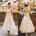 Fashion Ankle Length Lace Wedding Dresses A Line Beach Appliques Sheer Cap Sleeves Bridal Gown Short Party Dresses