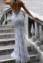 Sexy Women Deep-V Party  Formal Long Maxi Dress Sequin Solid Backless Dress
