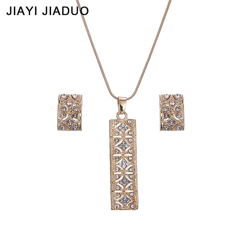 jiayijiaduo gold-color jewelry set pendant earrings necklace set for women Sanskrit rectangular crystal wedding gifts
