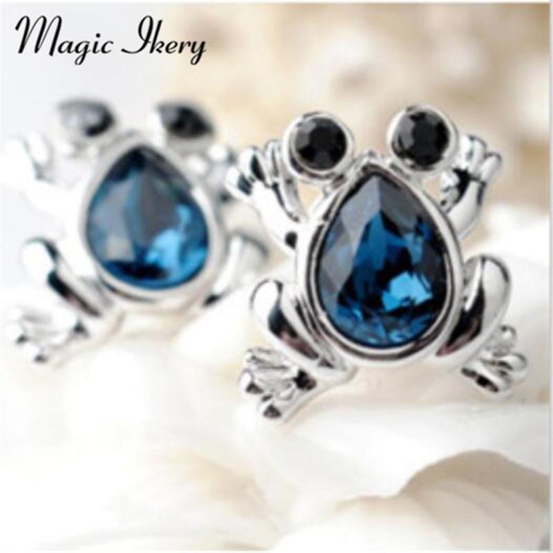 Magic Ikery New 2017 Cute Animal Frog Shape Stud Earrings For Girls Women Crystal Rhinestones Jewelry Gift SY-E00136