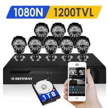 DEFEWAY 720 P HD 1200TVL Открытый Камеры Безопасности Системы 1080 P HDMI CCTV ВИДЕОНАБЛЮДЕНИЯ 8-КАНАЛЬНЫЙ DVR Комплект 1 ТБ HDD AHD Камеры набор