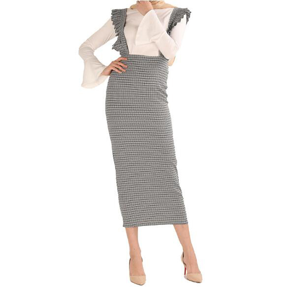 Muslim Long Pencil Skirt With Straps High Waist Dubai Kaftan Turkey Skirt for Women Jupe Musulmano Islamic Ruched Bodycon Skirts