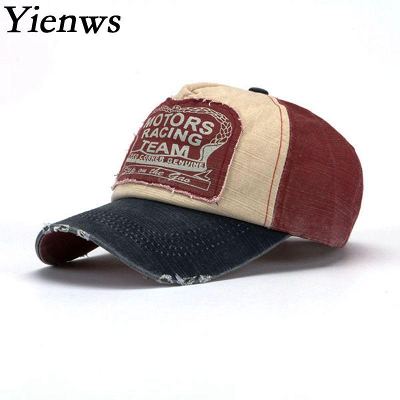 Prix pour Yienws Coton Courbe Bord Chapeau De Camionneur Hommes Vintage Lavage Papa Chapeaux En Gros Os Marque Casquette de baseball Masculin Femmes YIC070